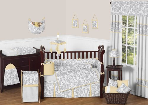 Sweet Jojo Designs Yellow, Gray and White Avery Damask Print