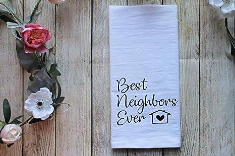 Amazon Com Custom Tee Co Best Neighbors Ever Tea Towel Keepsake Thank You Gift For Neighbor Neighborhood Gifts Home Kitchen