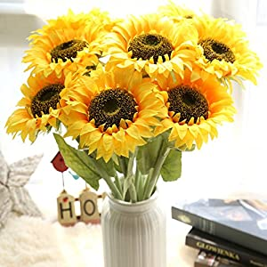 Artificial Sunflower,Govine Artificial Flowers fake flowers For Home Decoration Wedding Decor,26''Tall,7 Bunches 104