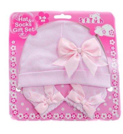 1ac9dbbd5a8 Conjunto gorro y calcetines de nacimiento para bebe niña algodón rosa o  blanco con cinta rosa ROSE Talla 3 - 6 meses  Amazon.es  Bebé