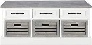 Coaster CO- Storage Bench, White/Weathered Gray