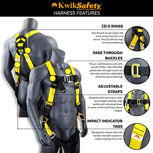 KwikSafety (Charlotte, NC) THUNDER KIT | 3D Full Body Safety Harness, 6' Lanyard, Tool Lanyard, 3' Cross Arm Strap Anchor ANSI OSHA PPE Fall Protection Arrest Restraint Construction Roofing Bucket by KwikSafety (Image #3)