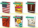Book Sox Stretchable Book Cover: Jumbo 6 Print Value Pack Fits Most Hardcover Textbooks up to 9'' x 11''. Adhesive-Free, Nylon Fabric School Book Protector. Wash & Re-Use