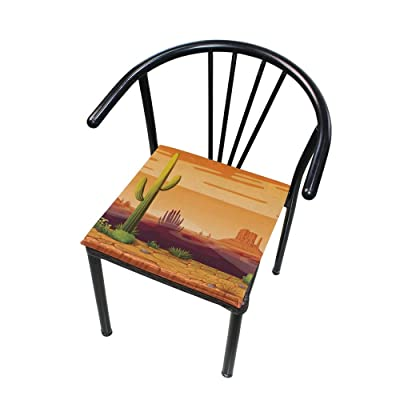 Bardic FICOO Home Patio Chair Cushion Cactus Sunset Desert Square Cushion Non-Slip Memory Foam Outdoor Seat Cushion, 16x16 Inch: Home & Kitchen