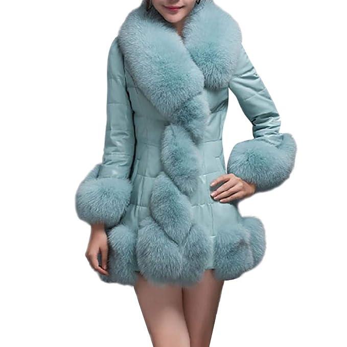 Abrigo de Piel sintética para Mujer Elegante Cálido Abrigo Prendas de Abrigo Larga Chaqueta de Piel sintética: Amazon.es: Ropa y accesorios