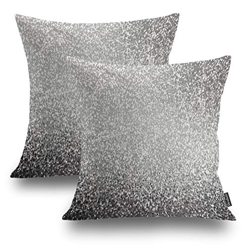 Shrahala Modern Retro Decorative Pillow Covers 18x18 Set of 2, Metallic Silver Gray Abstract Pixel Art Print Cushion Case for Sofa Bedroom Car Throw Pillow Covers, Square 18 Inches, Silver Gray Pixel (Silver Grey Cushions)