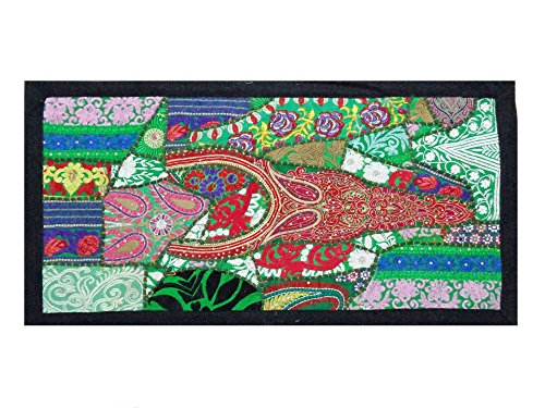 VINTAGE SARI DECOR INDIAN BEADED TABLE LINEN TAPESTRY RUNNER ()