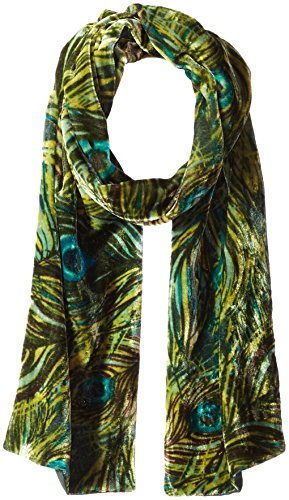 Collection Xiix Women's Peacock Velvet Scarf, pine green,...