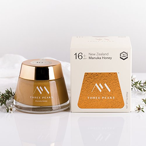 Three Peaks Manuka Honey | Certified UMF 16+ | 7.05 oz (200gm) | 100% Naturally Made in New Zealand | Natural Healing Properties | Ultra Premium