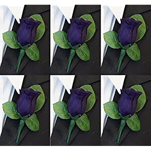 Set of 6 White Rose Boutonniere with Pin for Prom, Party, Wedding 48