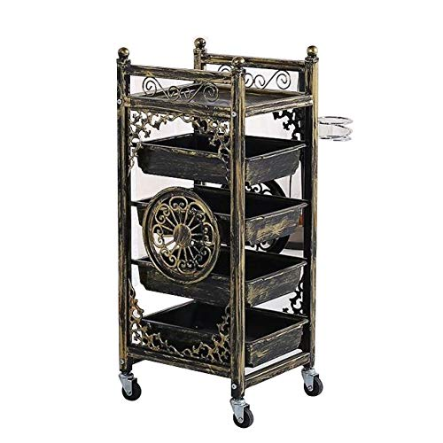 Retro Salon Hairdressing Trolley Hairdresser Barber Beauty Storage Hair Spa Roller Cart Salon Tray with Drawers,8