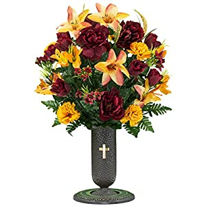Orange Stargazer Lily and Burgundy Rose Mix Artificial Bouquet, featuring the Stay-In-The-Vase Design(c) Flower Holder (LG1306) 5