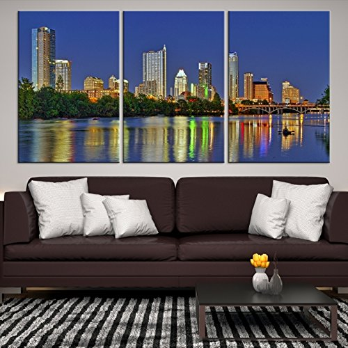 Amazon.com: Texas Austin City Skyline Wall Art Canvas Print - Large ...