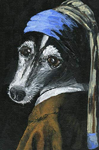 Funny Rat Terrier Painting Journal: 100-page blank lined journal featuring a funny rat terrier Vermeer style parody painting, girl with a pearl earring (Girl With A Pearl Earring)