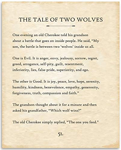 The Tale of Two Wolves - 11x14 Unframed Typography Book Page Print - Great Gift for Book Lovers, Also Makes a Great Gift Under $15