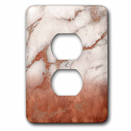 3dRose Uta Naumann Faux Glitter Pattern - Luxury Grey Copper Ombre Gem Stone Marble Glitter Metallic Faux Print - Light Switch Covers - 2 plug outlet cover (lsp_268839_6) by 3dRose
