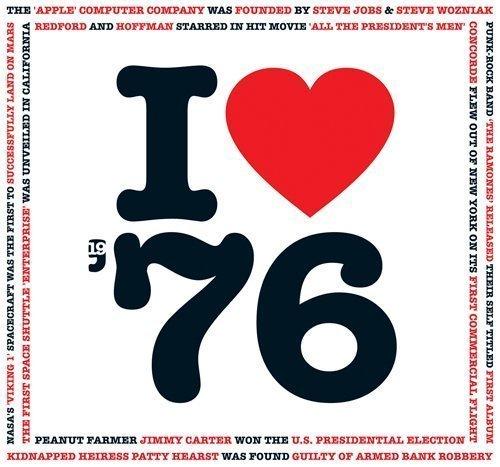 1976 Birthday Anniversary Gifts - I Love 1976 Greetings Card , Chart Hits Music CD , 20 Original Songs (Song Chart)