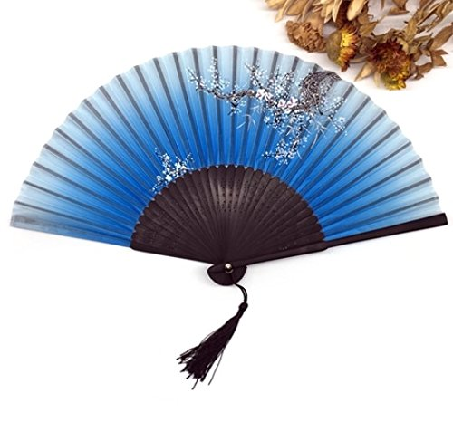 Blue Silk Bamboo Folding Hand Fan Fabric Floral Outdoor Dancing Wedding Party Favor Decoration
