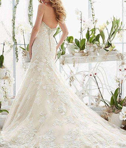 Spitzen White Brautkleider Bridal Kleider Beaded 2016 Fanciest White Meerjungfrau Damen f68PwqqE