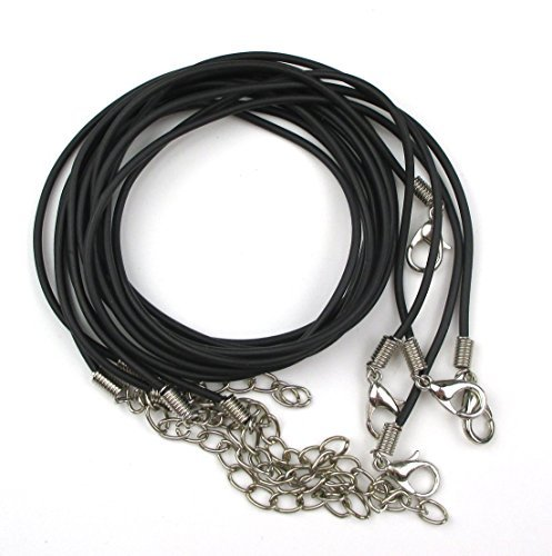 ALL in ONE 10pcs Black Imitation Leather Cord Necklaces with Extension Chain and Lobster Claw Clasp (Black)