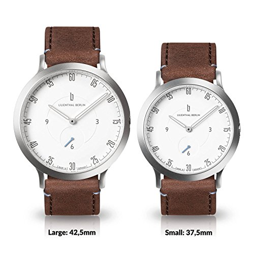 Lilienthal Berlin Watch - Made in Germany - Designed in Berlin. Model L1 with Stainless Steel Case (Size: 37.5 mm, Case: silver / Dial: white / Strap: brown) by Lilienthal Berlin (Image #4)