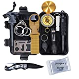 Survival Kit by Red Alert | Tactical Hiking Camping Gear | 13-in-1 Set with Knife Blanket Flashlight | Lightweight Compact Design