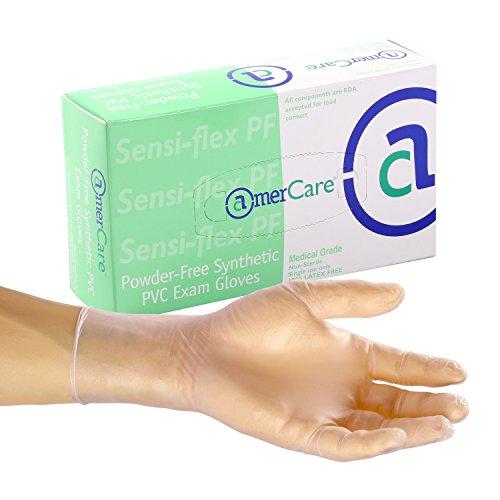 Amercare 500-2 Sensi-Flex Exam Grade Vinyl Gloves Powder Free, Medium, Case of 1000