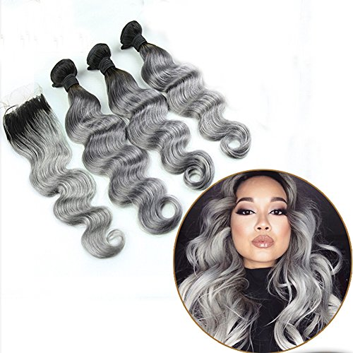 Ombre Hair Weave Body Wave 1B/Grey 7A Brazilian Peruvian Indian Virgin Hair Bundles With Lace Top Closure Silver Hair Extensions(20 22 24 with 18 Inch) by Dream Beauty