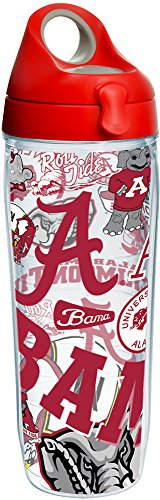 Insulated Alabama Bottle (Tervis 1252243 NCAA Alabama Crimson Tide All Over Water Bottle with Lid, 24 oz, Clear)