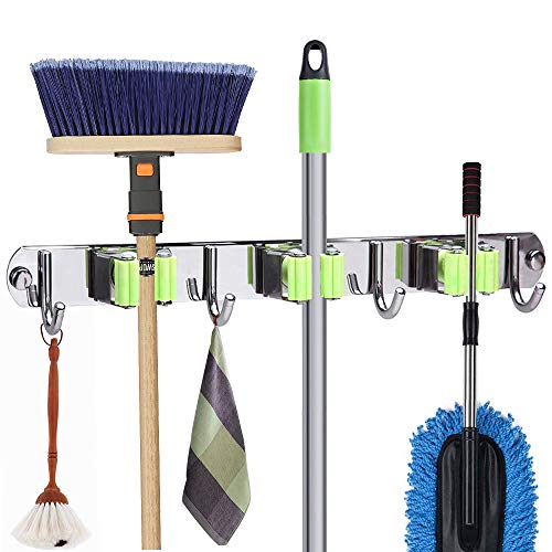 - Munto Mop and Broom Holder Wall Mount, Metal Stainless Steel Closet Broom Rack Organizer, Screws or Self Adhesive 3M Tape Mop Utility Hanger, Heavy Duty Storage Tool for Garage and Garden