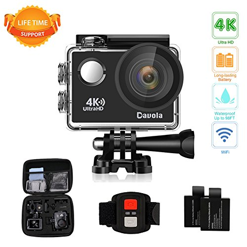 Shot Digital Camera Rechargeable Battery - Action Camera Waterproof 4K Underwater Camera Video Sport Camera WiFi Davola 16MP Ultra HD with Remote Control 170° Wide Angle Lens 2 Rechargeable Batteries and Mounting Accessories Kit