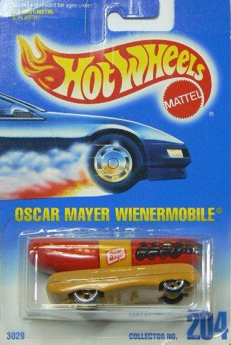 Hot Wheels Oscar Mayer Wienermobile #204 with 5 Dot Wheels on Blue to White Card (5 Dot Wheels)