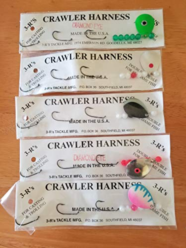 (3 R'S Tackle Set of 5 Crawler Harness's 3 Hook 12 inch New )