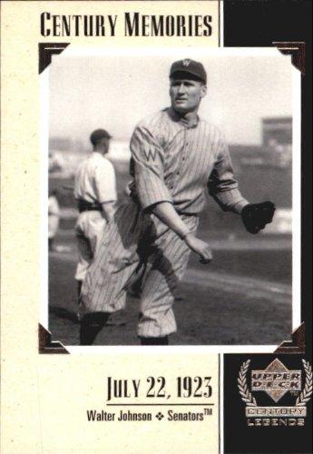 1999 Upper Deck Century Legends #129 Walter Johnson MEM MLB Baseball Trading Card from Upper Deck