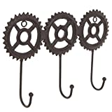 Brown Cast Iron Metal Steampunk Gear Design Wall Mounted 3 Hook Coat Rack / Entryway Hanging Key Hooks