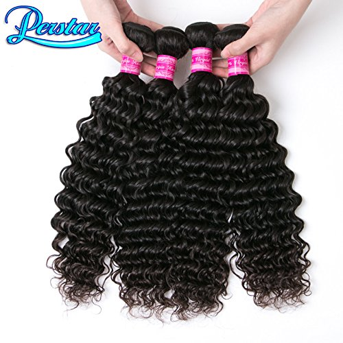 Perstar Hair 8A Grade Brazilian Virgin Hair Deep Wave 3/4 Bundles Remy Human Hair Weaves Natural Black Factory Price … (18 20 22 24, Natural Color)
