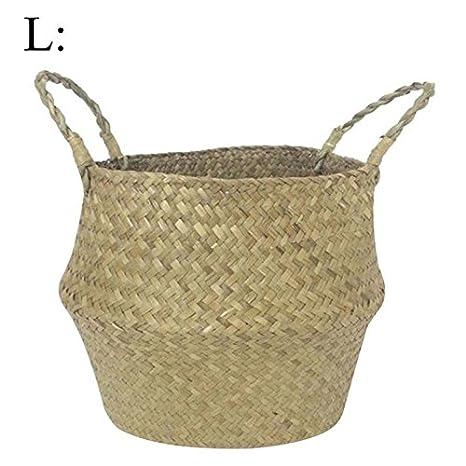 45285eda6b01 Belly Panier à linge à laver Jouets Plante Pots de fleurs Panier Naturel de  rangement Paille
