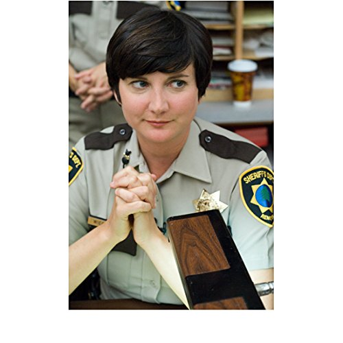 Reno 911 Kerri Kenney as Trudy Clasped Hands Sitting in Uniform 8 x 10 inch -