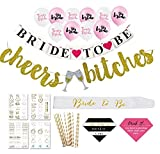 Ultimate Bachelorette Party Decorations Mega Value Kit - Tiara, Sash, Veil/Comb, Banner, Tattoos, Cups, Straws, Party Games, Drinking Game - Bride To Be Bridal Shower - Party Supplies