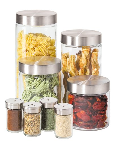Oggi 8 Piece Round Airtight Glass Canister and Spice Jar Set with Stainless Steel Lids