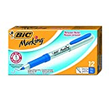BIC Marking Permanent Markers, Ultra Fine Point, Blue, 12-Count
