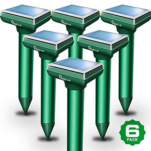 Apello Solar Mole Repeller Pack of 6 Mole Repellent Gopher Repellent Ultrasonic Chipmunk Repellent Repels Pest Rodents With Mole Killer Products No Killing Like Mole Traps Gopher Trap Mole Poison (Pestchaser Rodent Repeller Electronic)