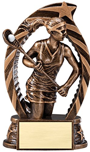 The Trophy Studio Antique Bronze And Gold Lacrosse Female Award 5 1/2''tall