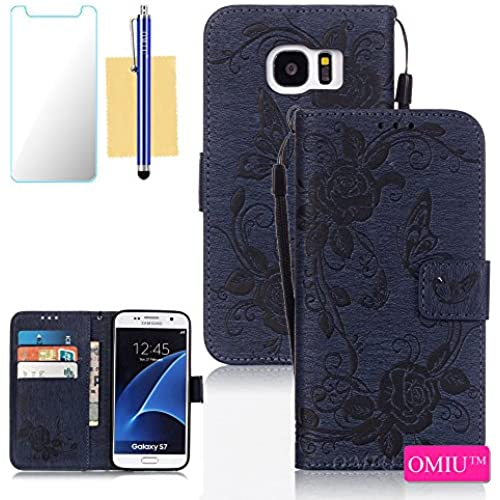 Galaxy S7 Case,S7 Case, OMIU(TM) Wallet PU Leather Embossed Butterfly Case with Credit ID Card Slots for Samsung Galaxy S7-Deep Blue Sales