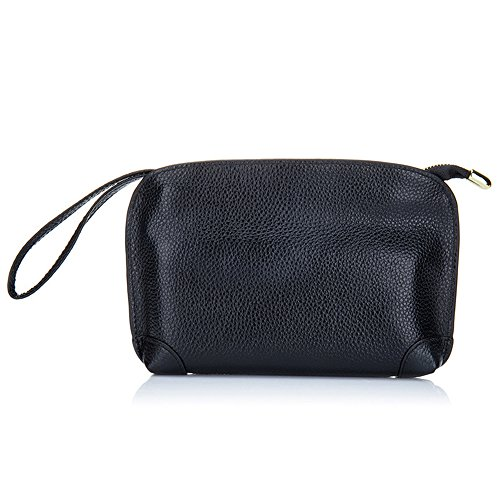 Leather Small Evening Bag (Aladin Small Evening Clutch Purse Bag, Unique Leather Wristlet Wallet Cell Phone Handbag for Women Black)