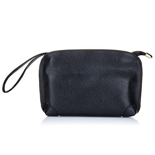 (Aladin Small Evening Clutch Purse Bag, Unique Leather Wristlet Wallet Cell Phone Handbag for Women Black)