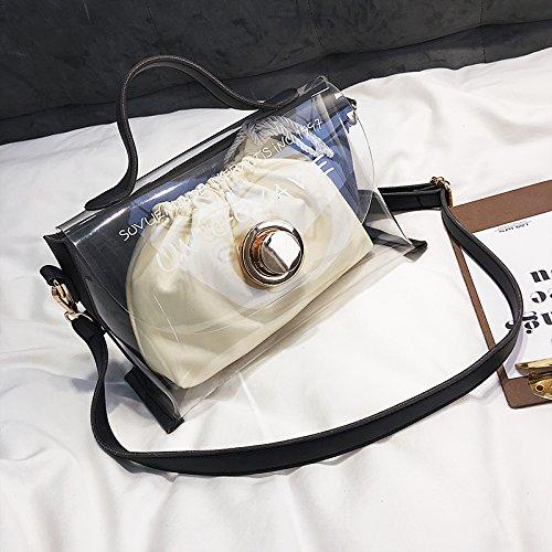 Capacité KLXEB Mother Grande Transparent Épaule À Match Sac Sac Black Oblique Tous De Unique Kuazi De Main À Holding Féminin L'Été Plage RBRx7O