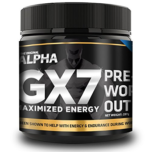 Alpha Gx7 Pre workout Maximized Energy For Workouts 252g 30 Servings Blue Raspberry Flavor
