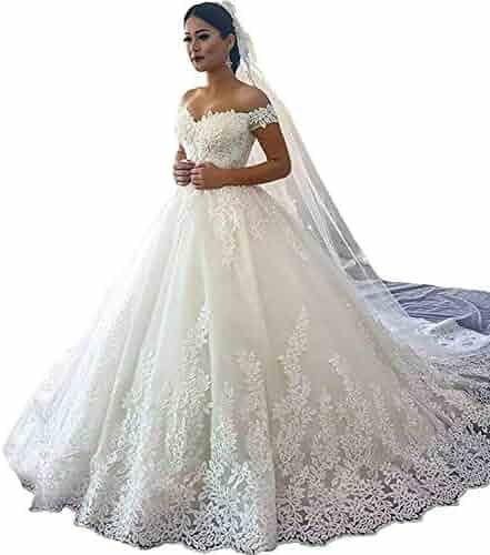 7640c8dc18e Wanshaqin Women s Straps Off Shoulder Lace Wedding Dress Cathedral Train Bridal  Gowns Lace-Up Back