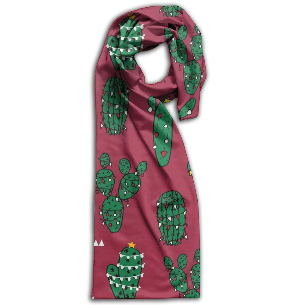 Womens Mens Fall Winter Fashion Scarf Long Shawl Cotton Scarves Print Scarves Christmas Cactus Winter Warm Soft Chunky Large Blanket Wrap Shawl Scarf